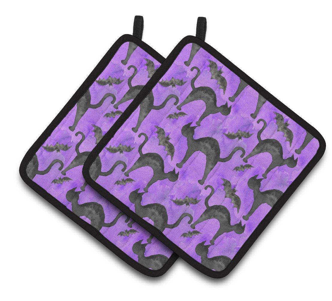 Multicolor Caroline/'s Treasures BB7528PTHD Watecolor Halloween Black Cats on Purple Pair of Pot Holders Carolines Treasures BB7528PTHD Watecolor Halloween Black Cats on Purple Pair of Pot Holders 7.5HX7.5W