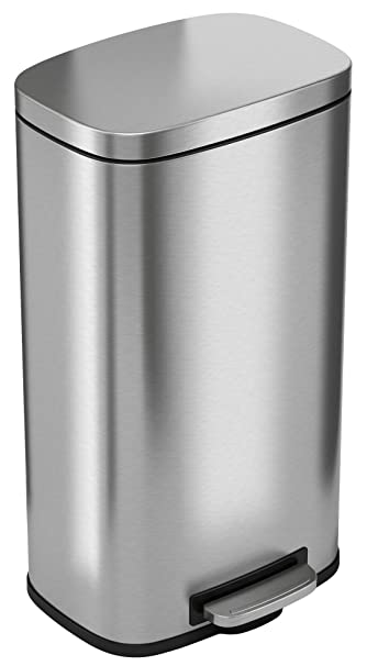 iTouchless with Odor Control System, 30 Liter Pedal Perfect for Office,  Home and Kitchen 8 Gallon Stainless Steel Step Trash Can, SoftStep 08 Gal