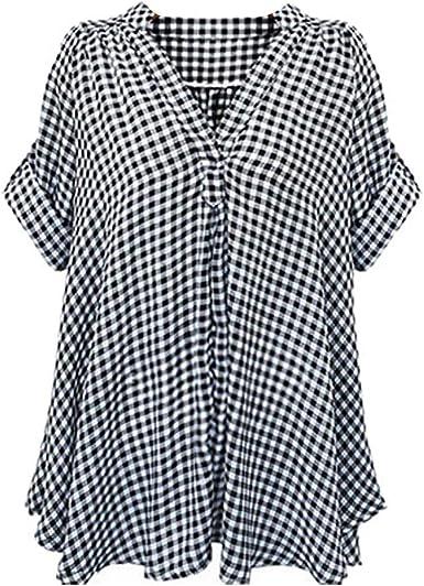 Camisa A Cuadros De Verano De Las Mujeres Camisa Cuadros Ropa A De Manga Corta para Mujeres Camisas De Cuello En V Camisas Sueltas Camisa Elegante Camisa Casual: Amazon.es: Ropa y accesorios