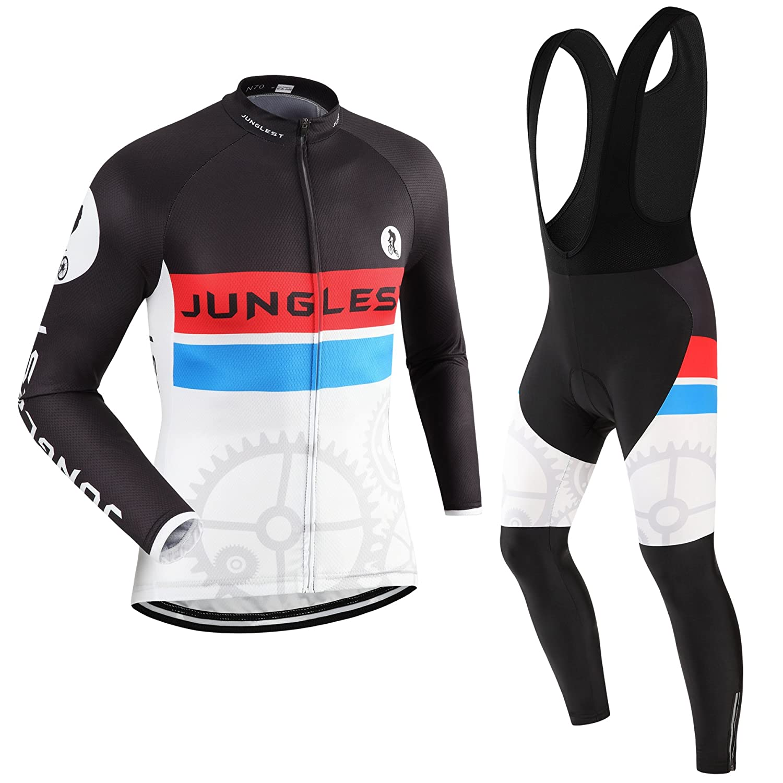 Cycling Jersey Set Wen長袖( S ~ 5 X L、オプション:よだれかけ、3dパッド) n70 B01BUHCBOE  タイプ:セット(フリース&ブラックビブ) 5XL(2.8cm 3D pad)(191-198cm/103-115kg)