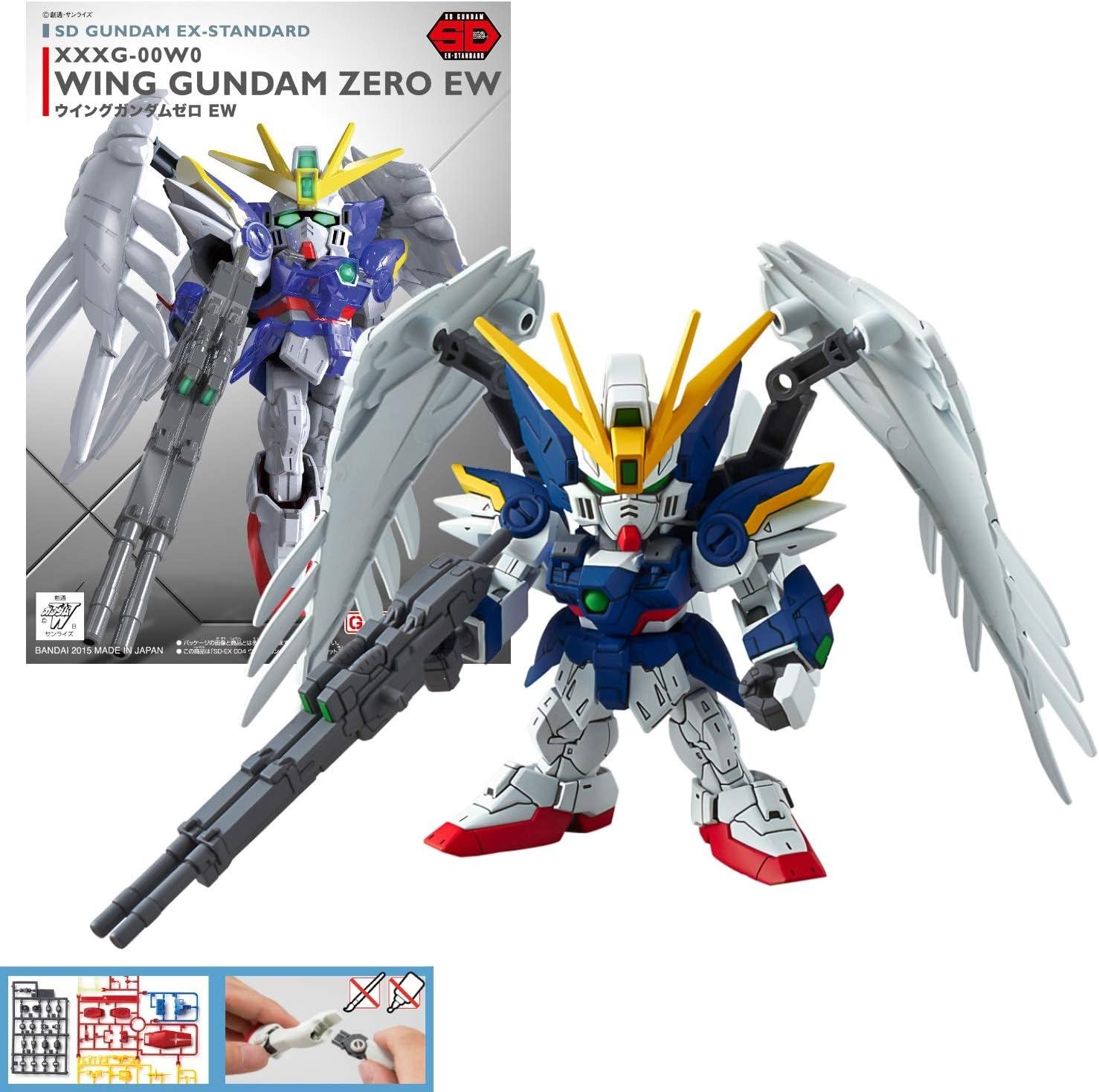 Amazon Com Bandai Gunpla Model Kit Gundam Sd Gundam Ex Standard 004 Wing Gundam Zero Ew Built In Robot Mk57600 5057600 Toys Games