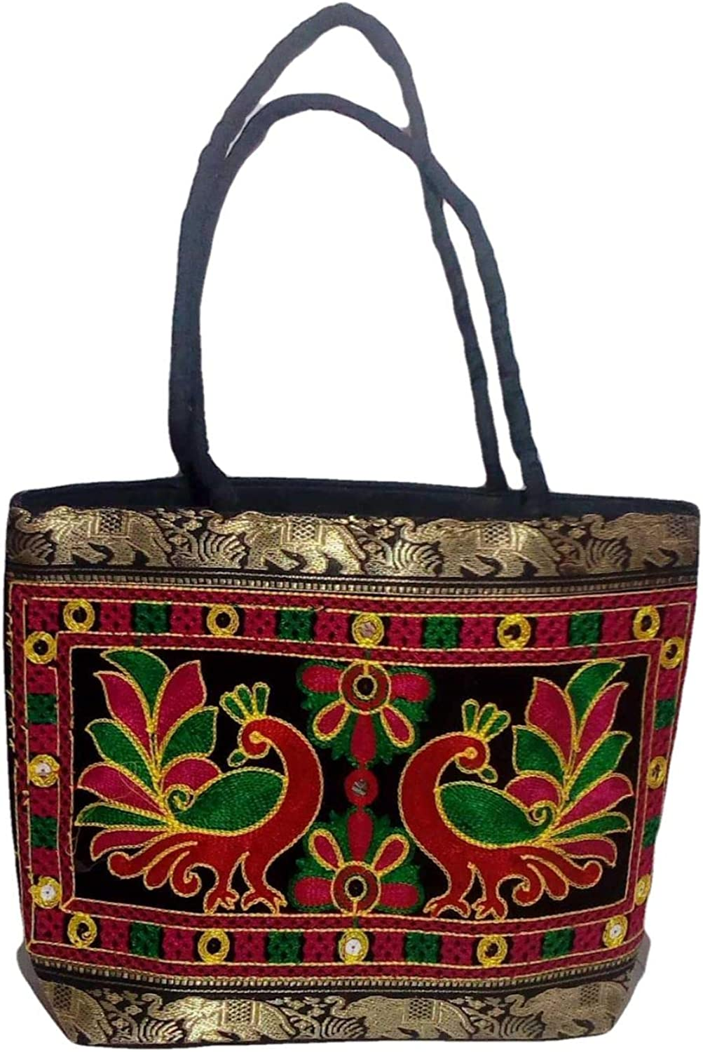 colorful Indian textile bag Tote bag with leather handles embroidered cotton purse Gift for fiancee Everyday market bag for happy hippie