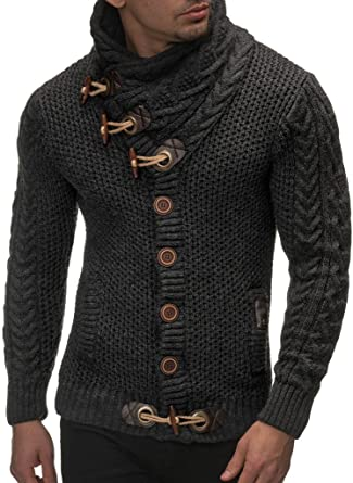 Hommes Pull Tricot gilet tricot gilet Tricot Pull Capuche Noir//Blanc