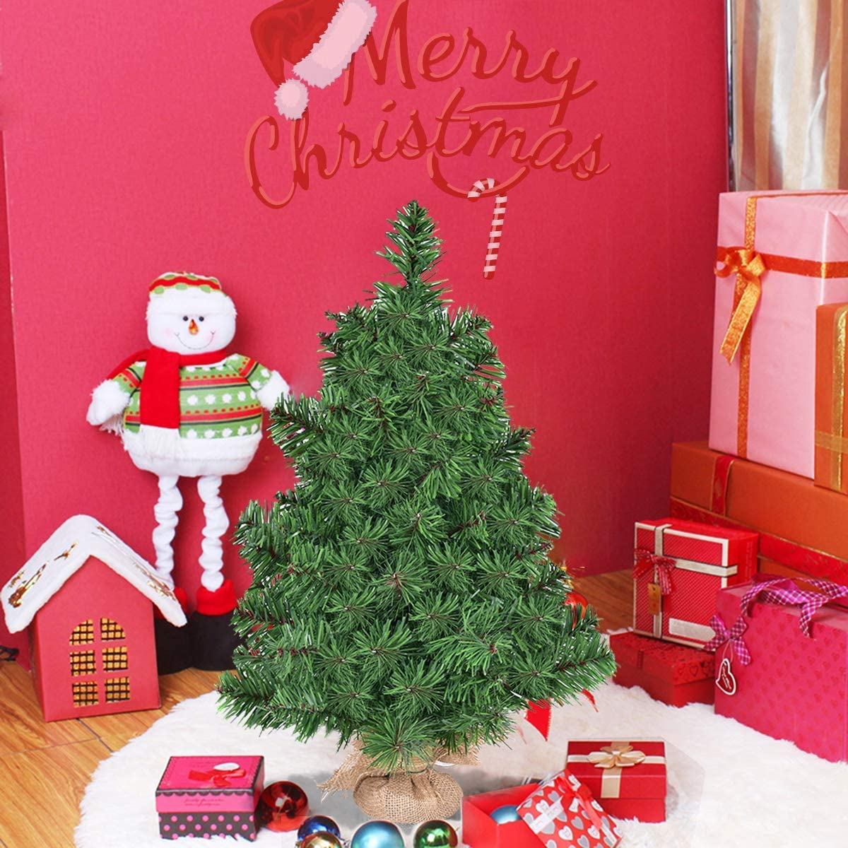 Giantex, Green HOMGX Artificial Tabletop, Premium Spruce Christmas Tree with Burlap Base, Suitable for Kitchen, Table and Office, (3FT)