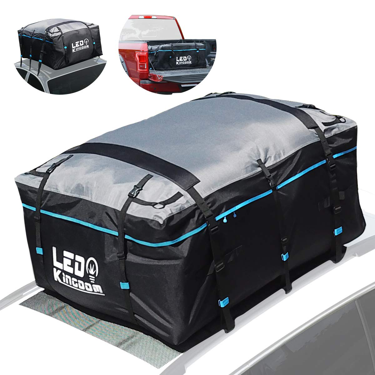 LED Kingdomus Roof Top Cargo Bag, Waterproof Truck Cargo 19cft 600D PVC Coating Soft Shell Carrier Bag for All Cars and Truck Pickup with/Without Rack-Car Roof Mat, Straps & Hooks Included by LED Kingdomus