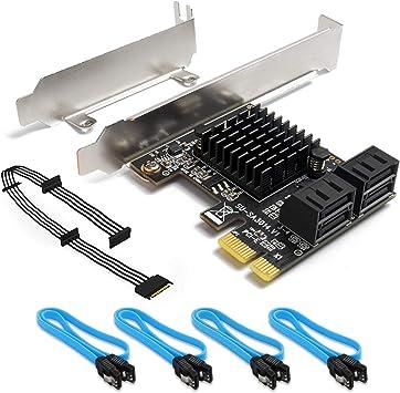 Amazon.com: SHINESTAR - Tarjeta PCIe SATA de 4 puertos con 4 ...