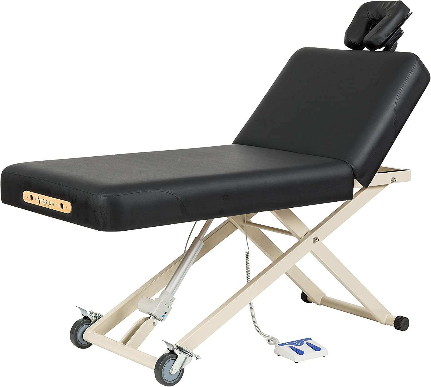 SierraComfort Adjustable Back Rest Electric Lift Massage Table, Black