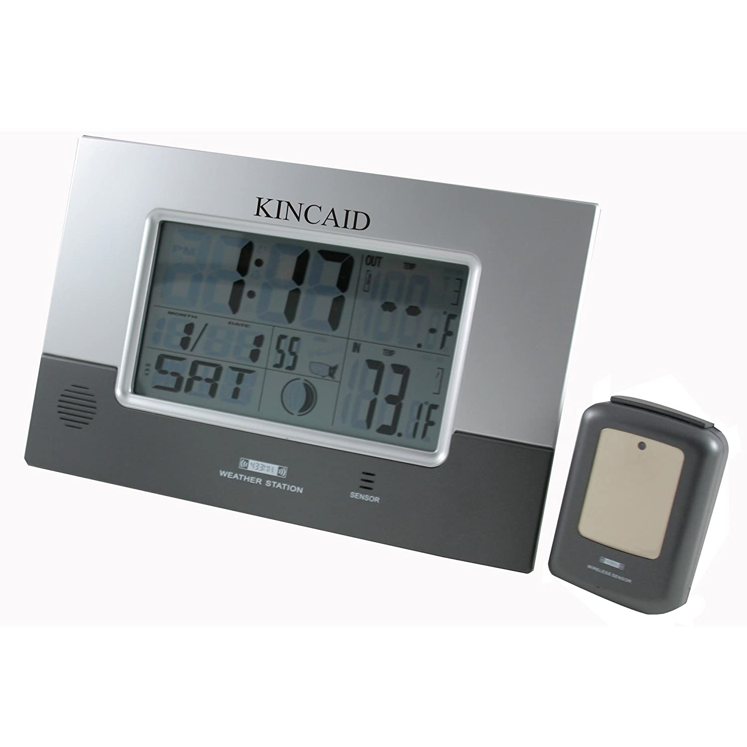 Amazon kincaid wall mounted digital weather station clock amazon kincaid wall mounted digital weather station clock with remote sensor home kitchen amipublicfo Image collections