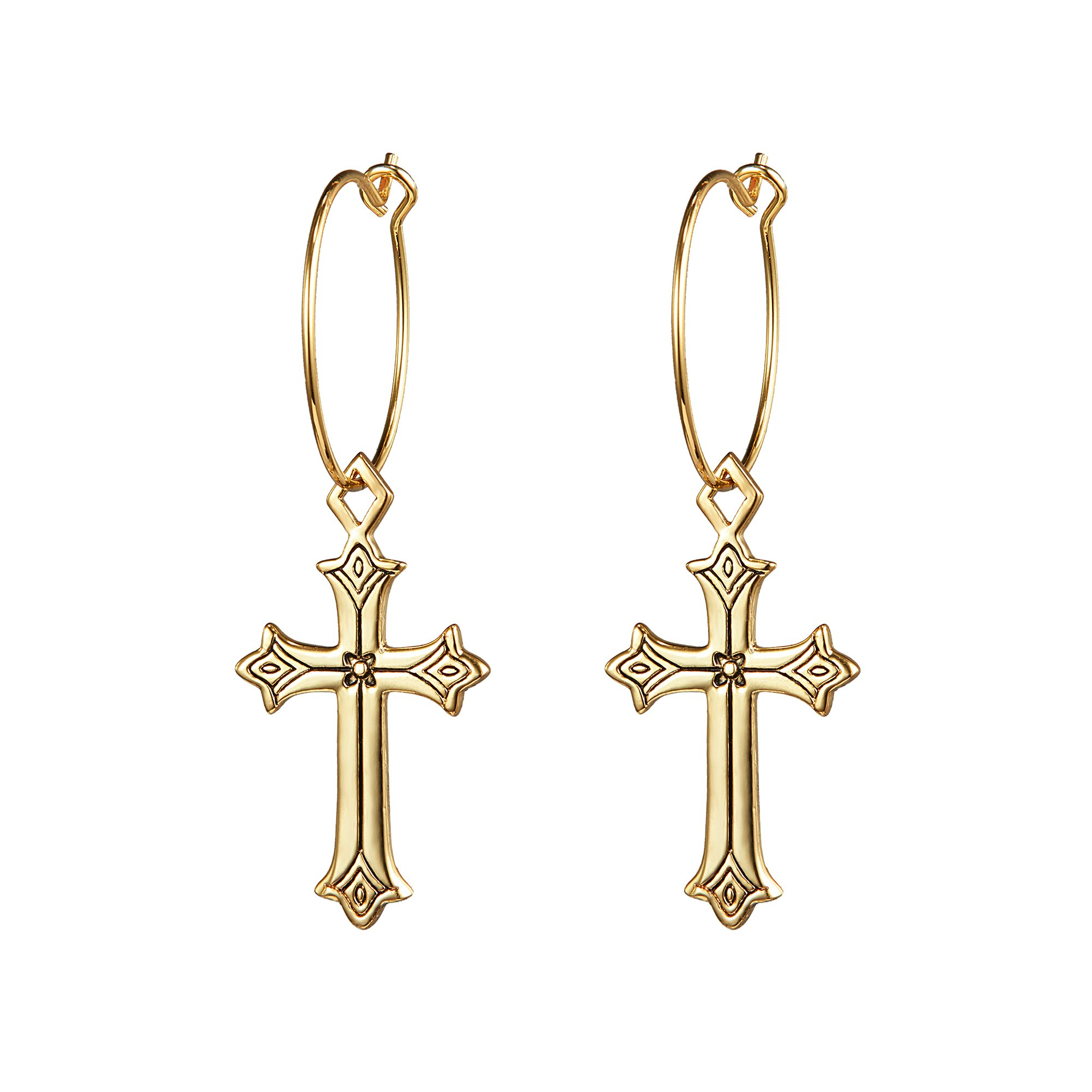 Cross Earrings 14K Gold Plated Dangle Vintage Hoop Cross Earrings for Women Girls