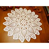 Damanni Cotton Handmade Crochet Lace Tablecloth Doilies Doily,Round,Beige,20 Inch,2PC