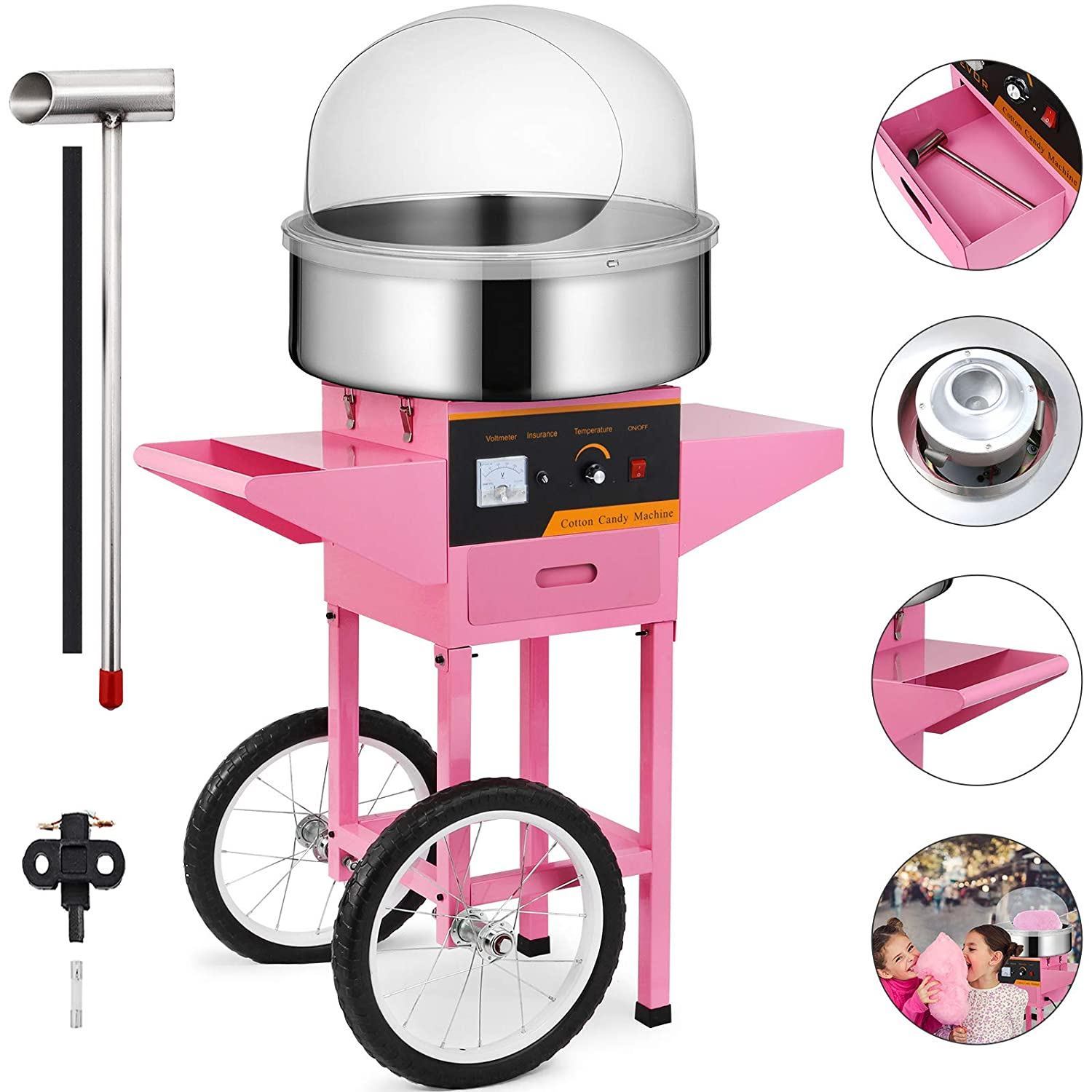 Happybuy Electric Candy Floss Maker 20.5 Inch Cotton Candy Machine with Cart and Cover 1030W for Various