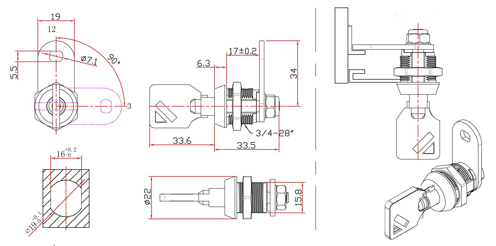 Tubular Cam Lock with Chrome Finish, Keyed Alike Removable Key (5/8'', Pack of 5) by Products Quad (Image #2)