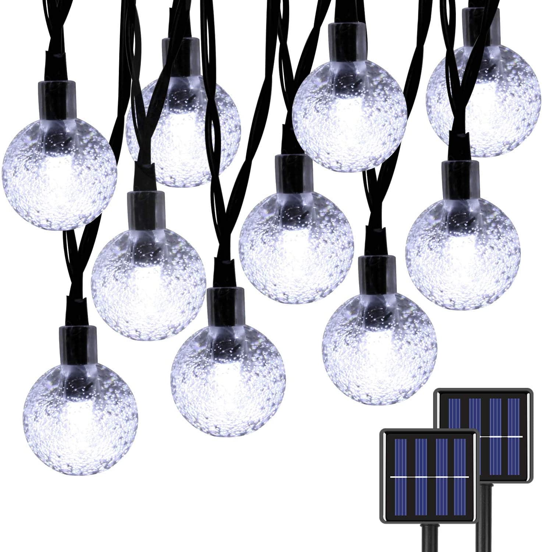 EXF 2-Pack Mini Globe Solar String Lights Outdoor, Upgraded Ultra-Bright 60 LED Crystal Ball Solar Christmas Lights, IP65 Waterproof 8 Modes Outdoor Solar Lights for Garden, Gazebo, Tree (Cool White)