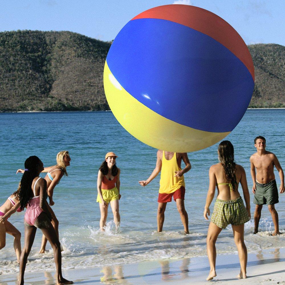Beach ball on beach Large Amazoncom The Beach Behemoth Giant Inflatable 12foot Poletopole Beach Ball By Sol Coastal Toys Games Amazoncom Amazoncom The Beach Behemoth Giant Inflatable 12foot Poletopole