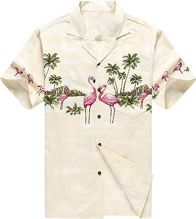 Hecho en Hawaii Camisa Hawaiana de los Hombres Camisa Hawaiana Flamencos Rosados Crema