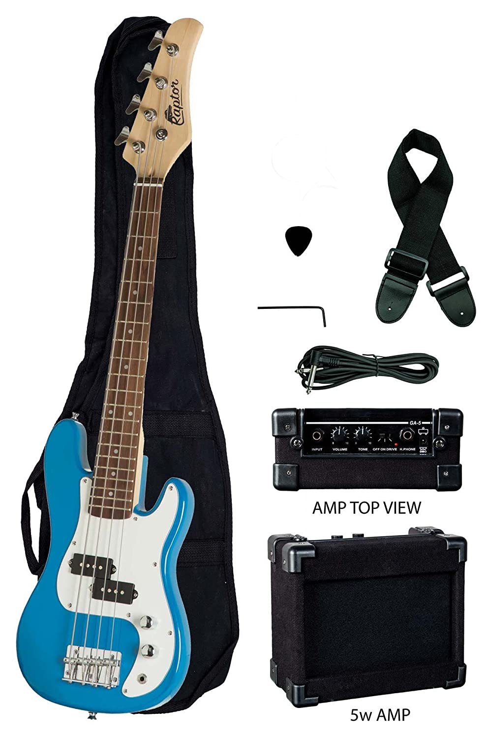 Raptor 3/4 Size 38 Inch Kids Child 4 String Electric P Bass Package - BLUE with 5W Amp, Gig Bag, Strap, Cable, Pick EB38-BU