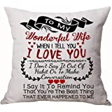 Queen's designer Best for Lover Wife Nordic Sweet Warm Sayings to My Wonderful Wife When I Tell You I Love You Cotton Linen D