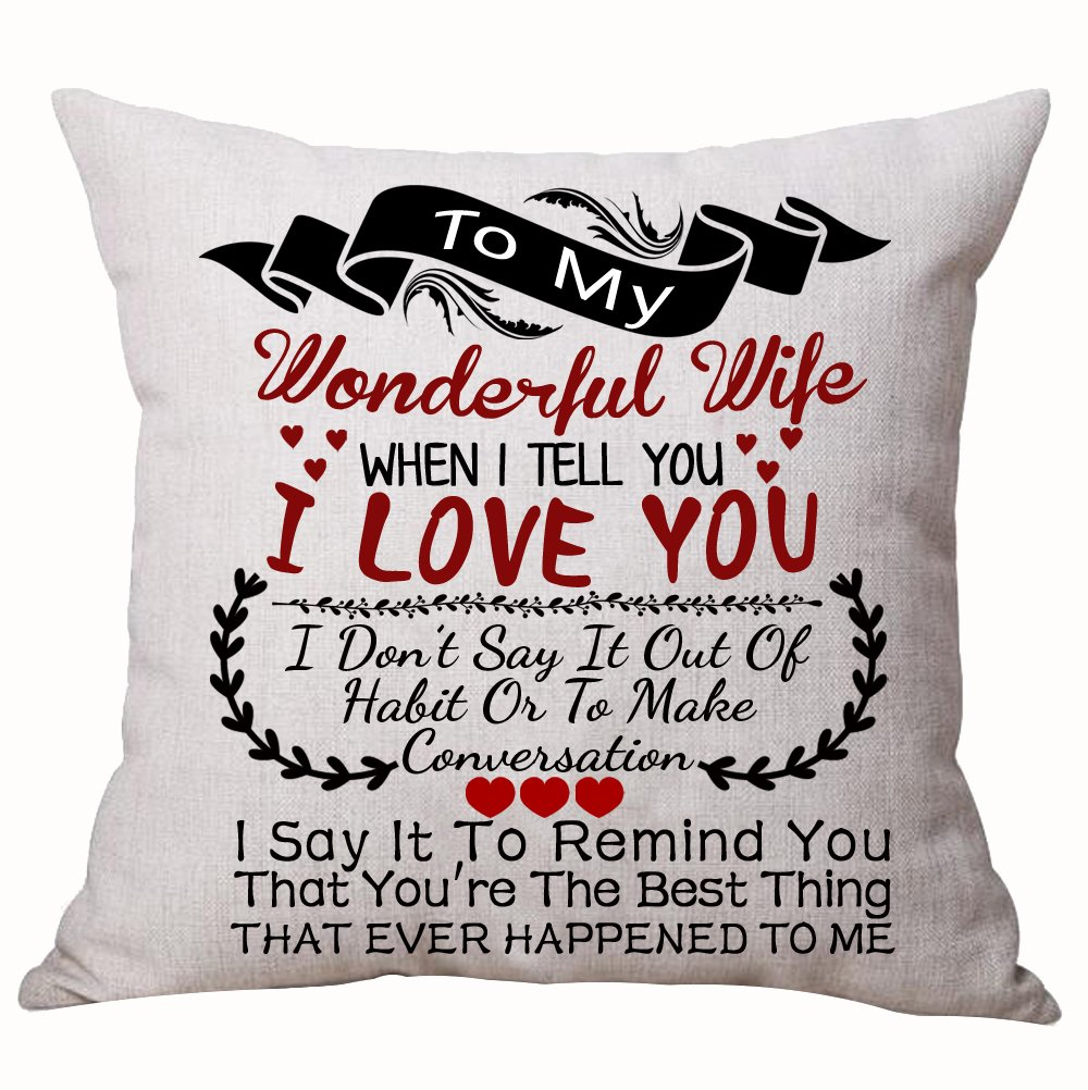 Best for Lover Wife Nordic Sweet Warm Sayings to My Wonderful Wife When I Tell You I Love You Cotton Linen Decorative Throw Pillow Case Sheets & Pillowcases