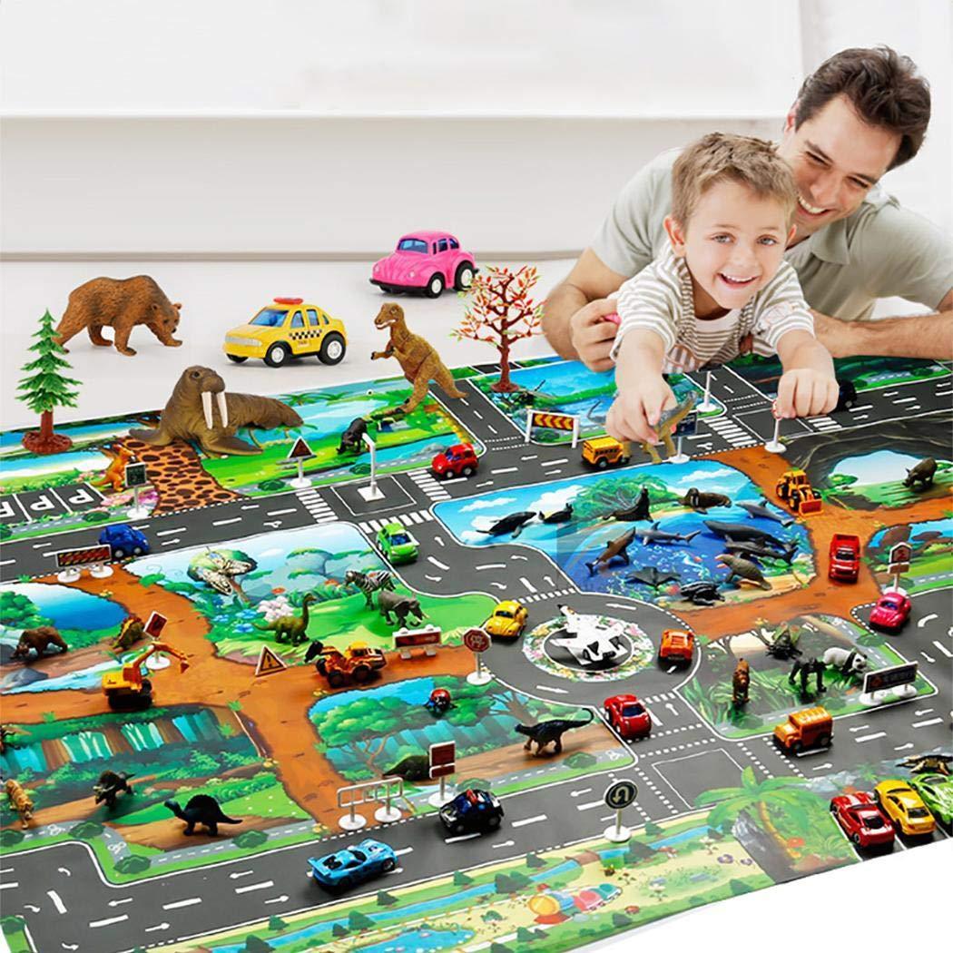 Fanala Kids Map Taffic Animal Play Mat Baby Road Carpet Home Decor Educational Toy Baby Gyms & Playmats by Fanala