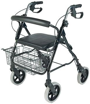 NRS Healthcare M39634 - Andador con 4 ruedas, asiento y cesta ...