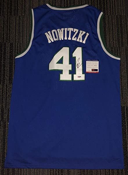 41fa5f7a2 ... closeout dirk nowitzki autographed signed dallas mavericks throwback  jersey autopsa dna fdce7 a2be0