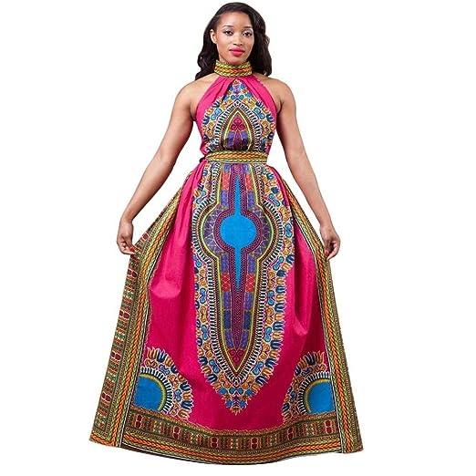 Amanod Women Ball Gown Dress Africa Print Dashiki Sleeveless Long