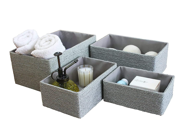 Amazon Com Storage Baskets Set 4 Stackable Woven Basket Paper Rope Bin Storage Boxes For Makeup Closet Bathroom Bedroom Gray Baby