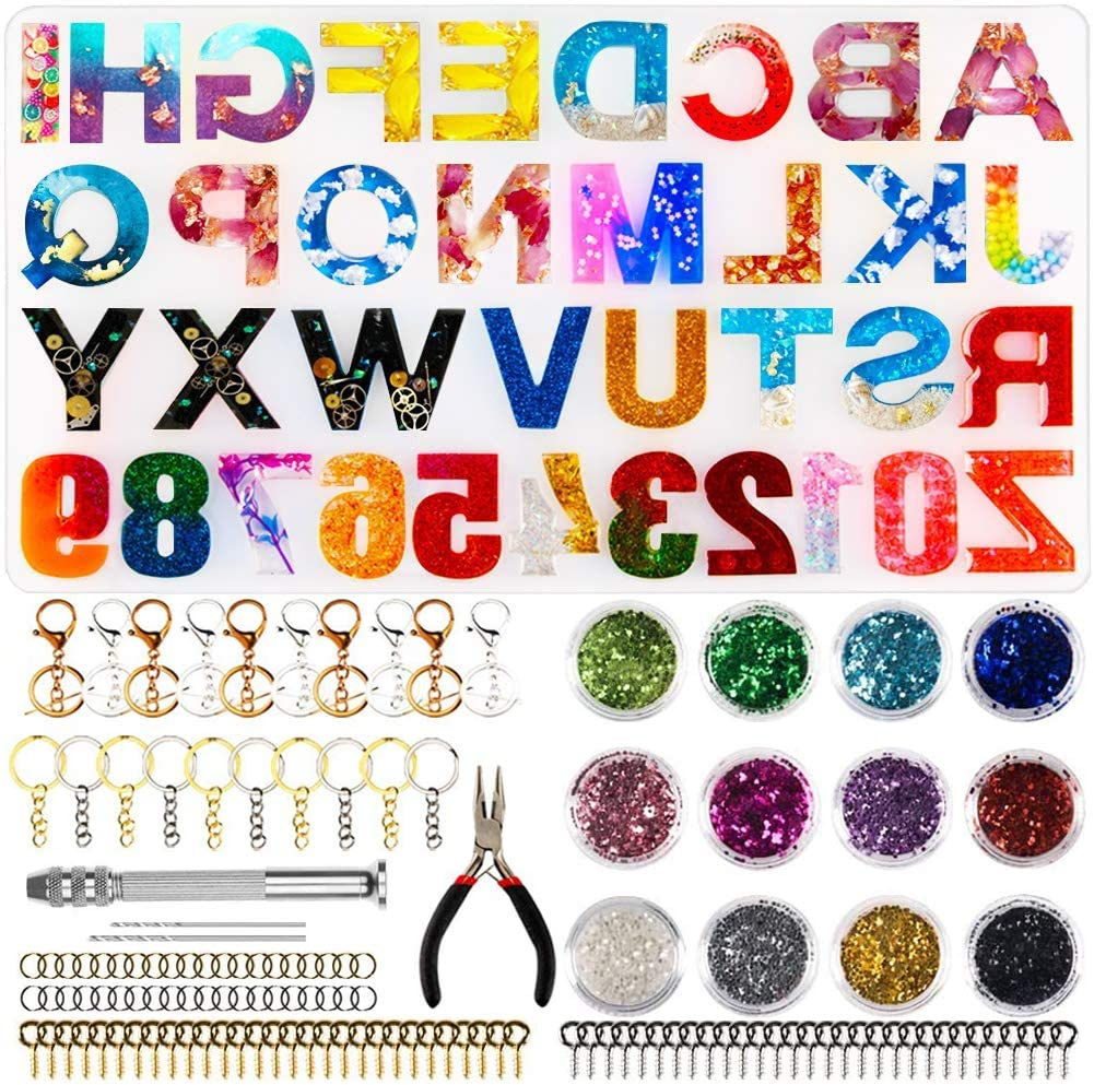 Molde de silicona con alfabeto al revés p/llaveros resina