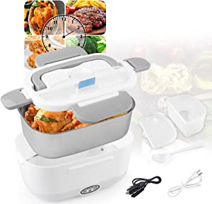 Electric Lunch Box Food Heater, 2-In-1 Portable Food Warmer Lunch Box for Car/ Truck & Work, Removable 304 Stainless Steel Container, Spoon and Insulated Bag (Gray)