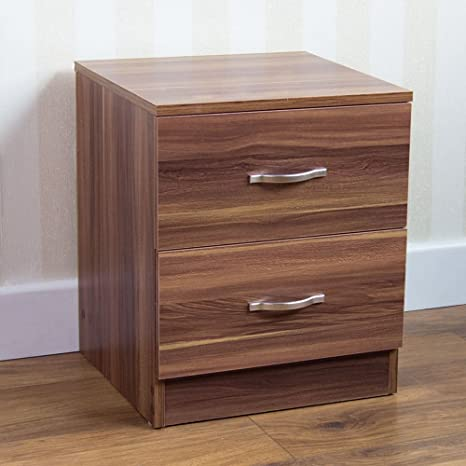 Brilliant Home Discount Walnut Bedside Cabinet 2 Drawer With Metal Handles Runners Unique Anti Bowing Drawer Support Riano Bedroom Furniture Home Interior And Landscaping Ponolsignezvosmurscom