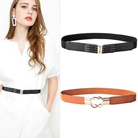 a56a8b0b6a Image Unavailable. Image not available for. Color  2 Pack Womens Thin  Elastic Waist Belt Cinch Belt Trimmer Stretch ...