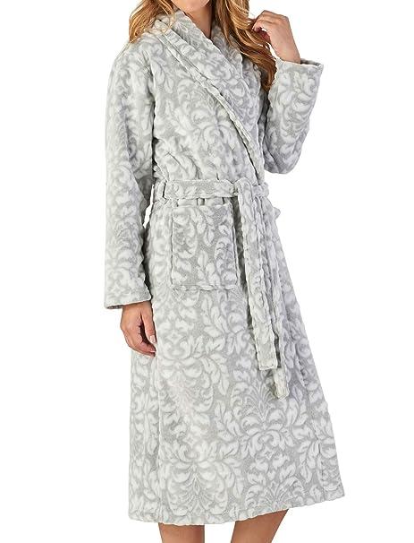 1b4802ba04d Slenderella Ladies Floral Dressing Gown Soft Flannel Fleece Shawl Collar  Wrap Bathrobe Small (Grey)