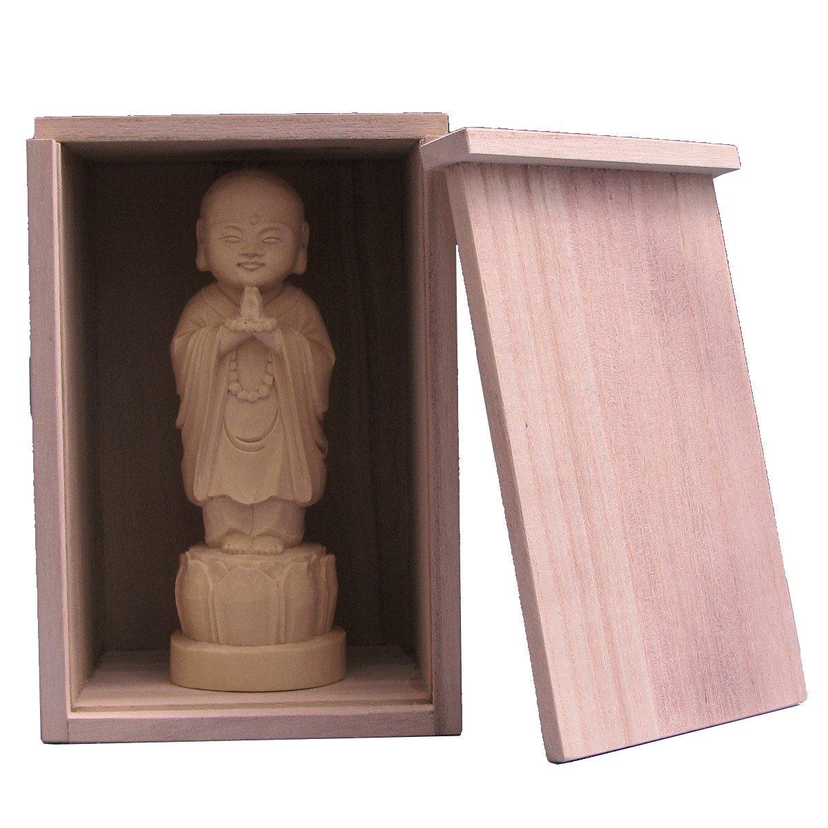 木彫仏像 子育地蔵(合掌形) 16cm桧木 桐箱付き B01KUHRASM