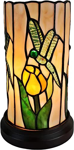 Amora Lighting Tiffany Style Accent Lamp 10 Tall Stained Glass White Yellow Dragonfly Vintage Antique Light Decor Nightstand Bedside Living Room Bedroom Gift AM089ACCB, Multicolor