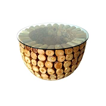 Teak Couchtisch Bowl Ink Glasplatte 80 Cm Teakholz