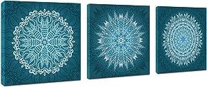 3 Panels Teal Mandala Flowers Wall Decor Artwork Pictures Blue Boho Decor Flowers Canvas Prints Floral Geometric Paintings Home Decor Framed for Bedroom Office Bathroom Living Room 12