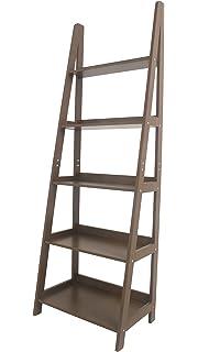 Geneva 5 Tier Innovex Ladder Leaning Bookcase Multifunctional Wood Storage Display Wall Shelve Brown