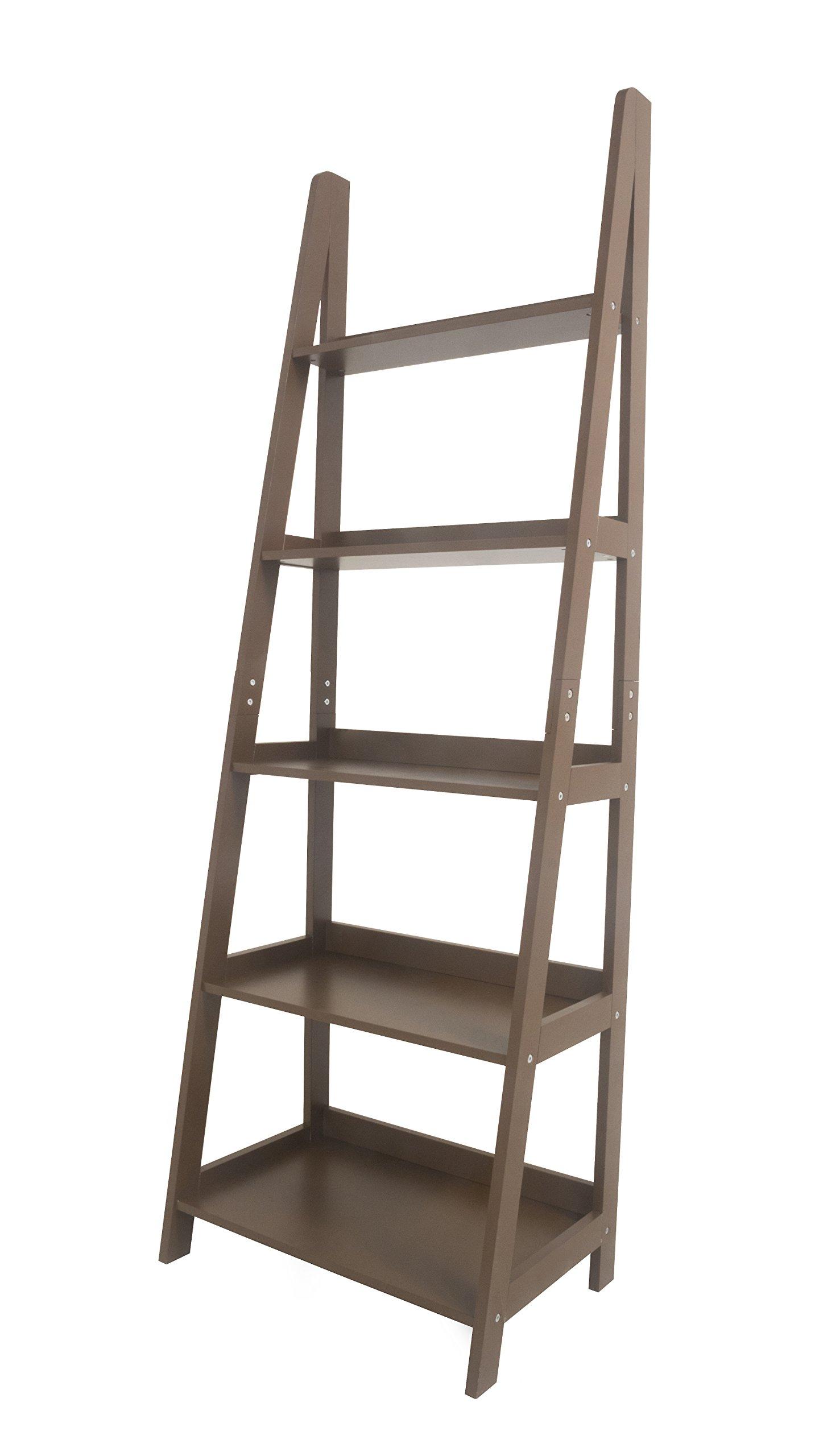 Geneva 5 tier Innovex ladder leaning bookcase, multifunctional wood storage display wall shelve, brown