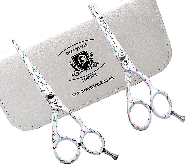 BeautyTrack estuche 5 (12, 7 cm) y tijeras para entresacar barbero peluquería Tijeras + tijeras negro cocodrilo Funda de viaje