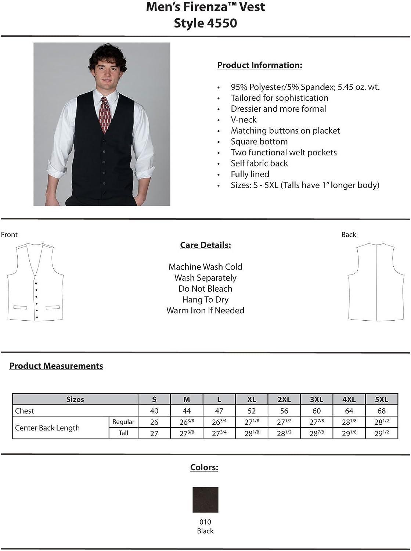 Black XXX-Large Tall Edwards Garment Mens V-Neck Fully Lined Firenza Vest