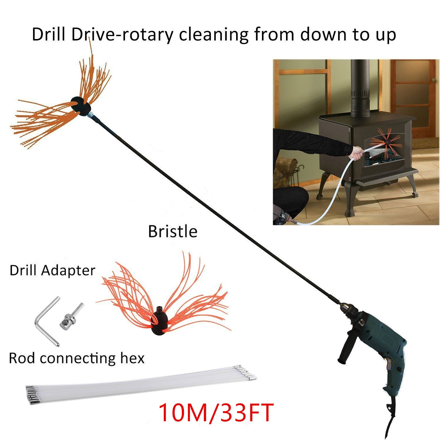 ICOCO 10M/33FT Professional Chimney Pipe Sweep Cleaning Sweeping Tool Kits Drill Powered Rotary Chimney Brush DIY Set with with Nylon Flexible Rods ¡­ oHholly