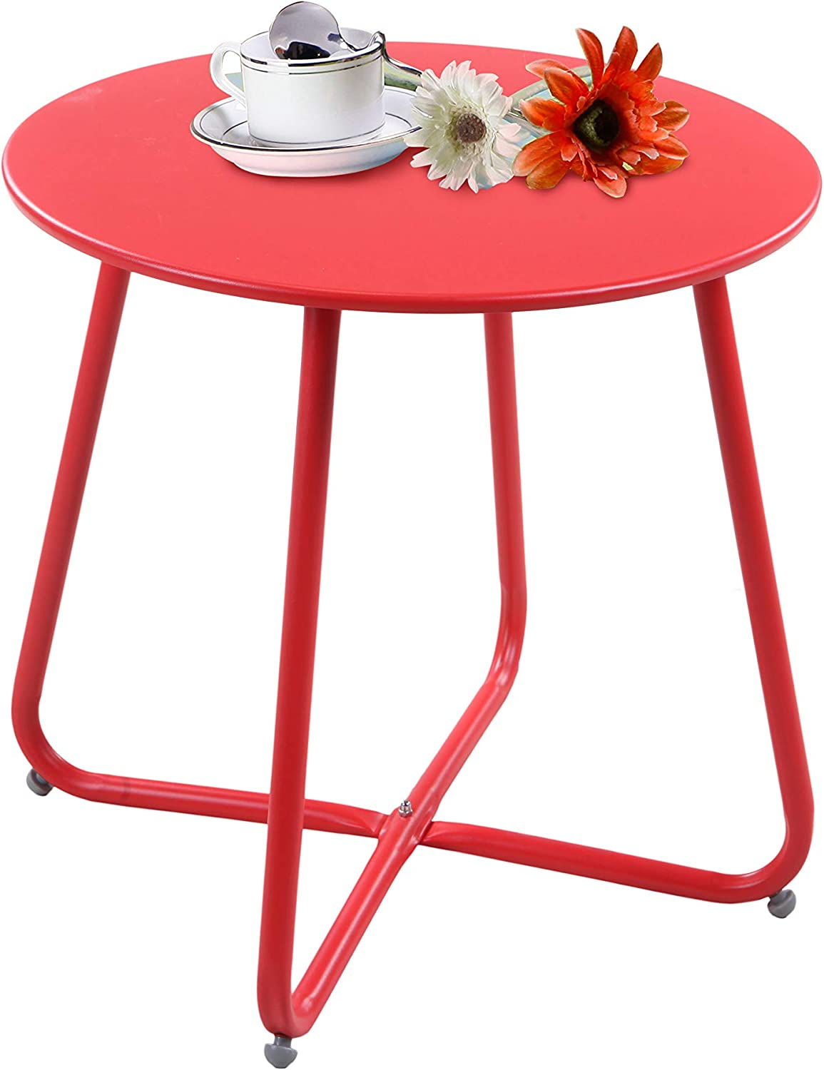 Grand Patio Steel Patio Side Table, Weather Resistant Outdoor Round End Table, Red : Garden & Outdoor
