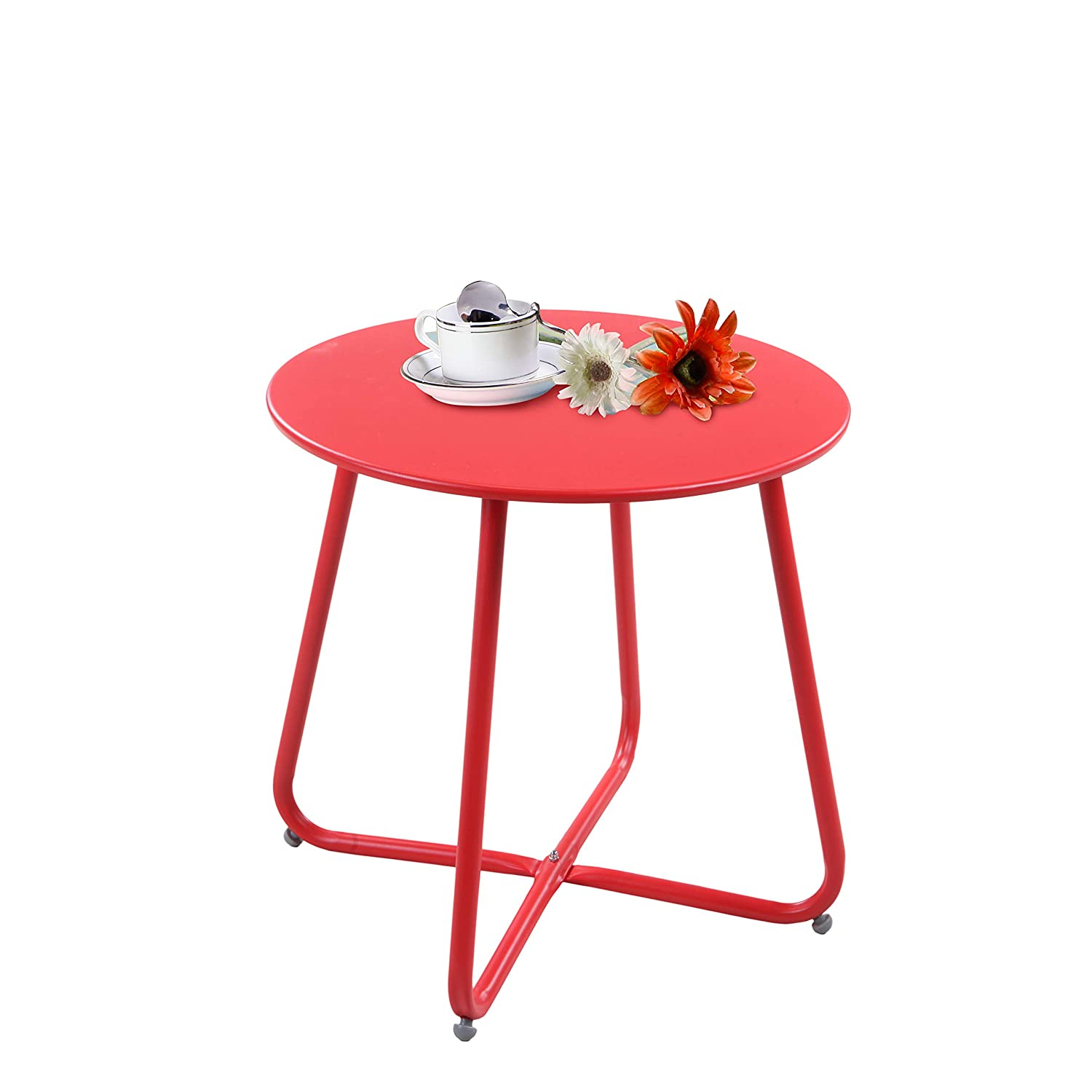 Grand patio Steel Patio Coffee Table, Weather Resistant Outdoor Side Table, Small Round End Table, Red