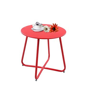 Grand Patio Steel Patio Coffee Table Weather Resistant Outdoor Side Table Small Round End Table Red