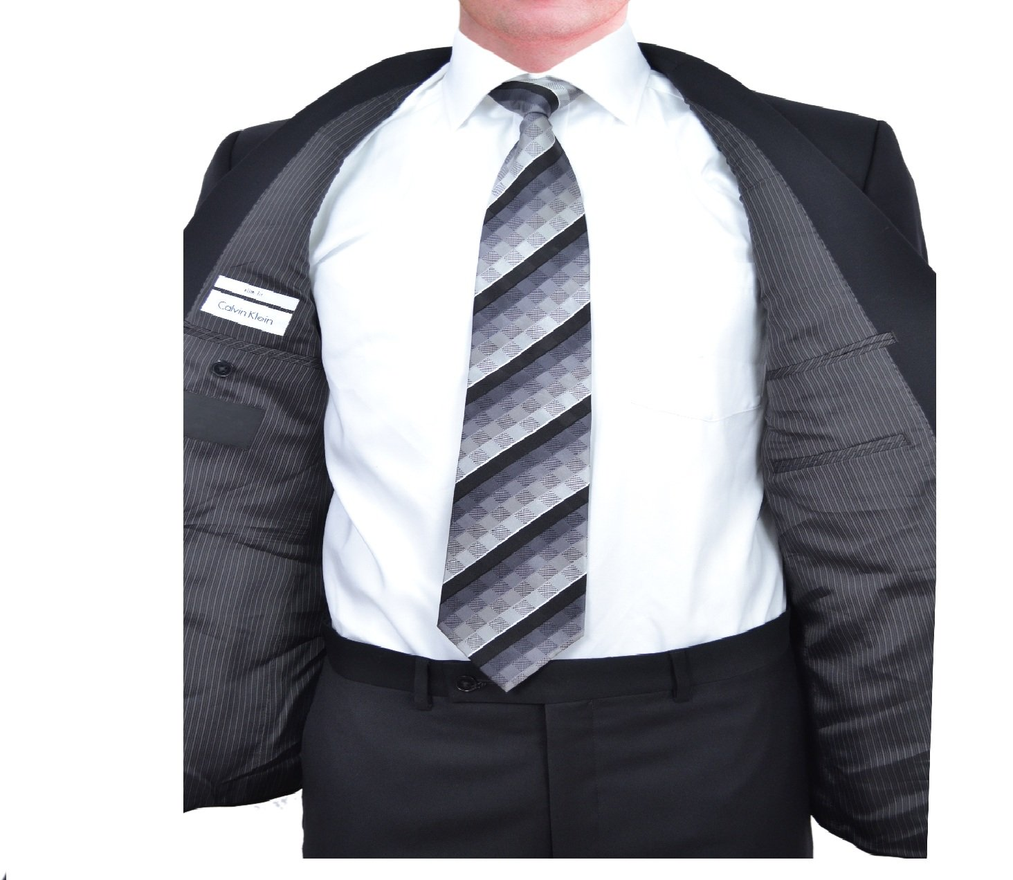 Calvin Klein Slim Fit Black Solid Two Button Wool New Men's Suit Set (44R 40W x 32L) by Calvin ` Klein (Image #2)