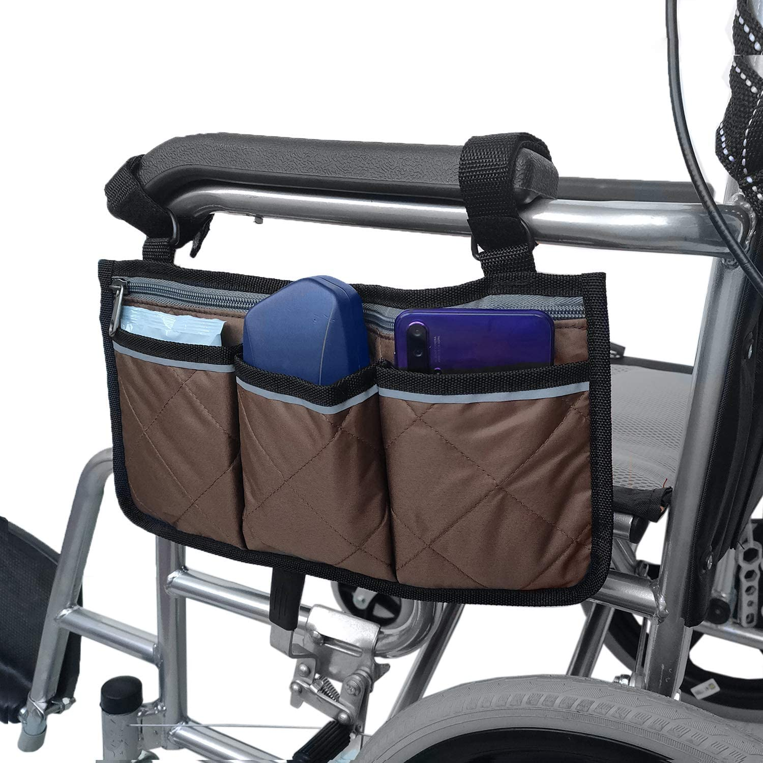 Wheelchair Side Bag with Pouches and Reflective Stripe, Wheelchair Armrest Side Organizer for Electric Wheelchairs, Manual Wheelchair, Lightweight and Easy to Use (Brown): Health & Personal Care