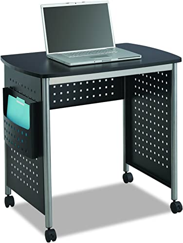 Safco Products Scoot Sit Down Computer Workstation Desk with File Pocket, Black