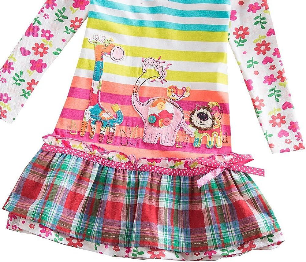 DXTON Girls Dresses Stripe Cartoon Rabbit Giraffe Cotton Long Sleeve Casual Clothing