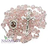 Amazon Price History for:Light Pink Crystal Beads Rosary Catholic Necklace Holy Soil Medal & Crucifix