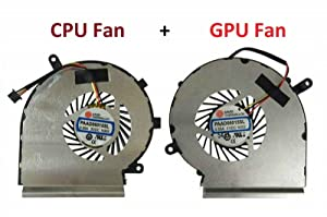 DBParts New CPU + GPU Cooling Fan for MSI GE62 GL62 GE72 GL72 GP62 GP72 PE60 PE70 Series, P/N: PAAD06015SL-N039 PAAD06015SL-N303 PAAD06015SL-N285, 3 Pin 3 Wire